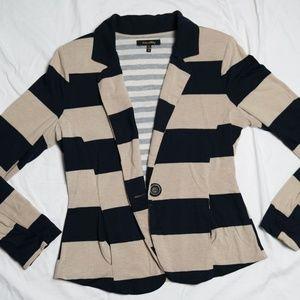 Tan And Navy Blue Cloth Blazer